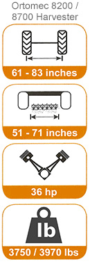 8200/8700 harvester dimensions