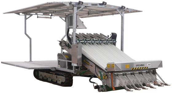 Ortomec 9000 harvester with unfolded canopy and deck