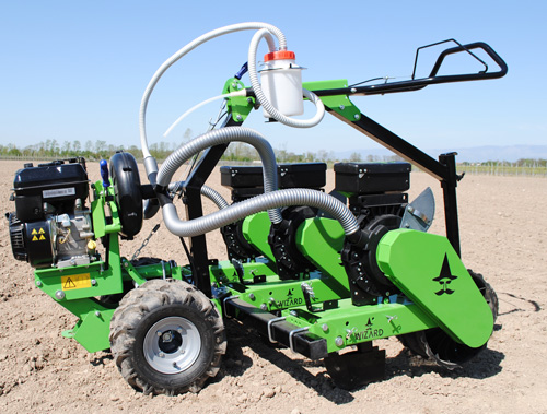 Wizard 3 row walk behind vacuum seeder